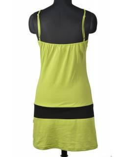 Krátké zelené šaty na ramínka s potiskem stromu, Tree design, barevná výšivka