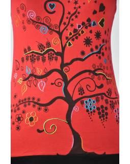 Krátké červené šaty na ramínka s potiskem stromu, Tree design, barevná výšivka