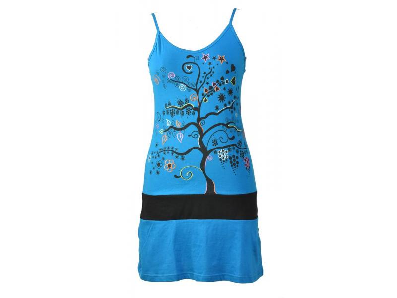 Krátké tyrkysové šaty na ramínka s potiskem stromu, Tree design, barevná výšivka