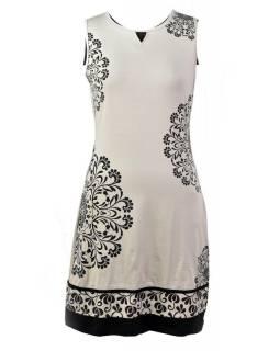 Béžové šaty bez rukávu, Mandala design, potisk, bio bavlna