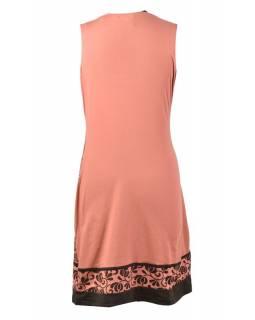 Meruňkové šaty bez rukávu, Mandala design, potisk, bio bavlna