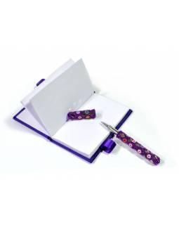 Zdobený notýsek s propiskou a zrcátkem, fialový s korálky a sklíčky, 9x12,5cm