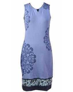 Fialové šaty bez rukávu, Mandala design, potisk, bio bavlna