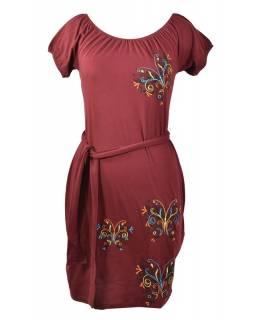 Vínové šaty na ramena, krátký rukáv,  barevná výšivka motýl