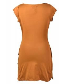 """Okrové šaty s """"vodou"""", krátký rukáv,  barevný potisk, bio bavlna"""