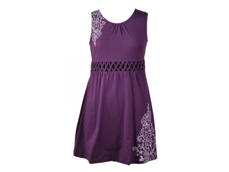 Fialové šaty bez rukávu s ornamentálním potiskem a prostřihy, bio bavlna