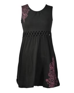 Černé šaty bez rukávu s ornamentálním potiskem a prostřihy, bio bavlna