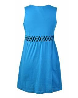 Tyrkysové šaty bez rukávu s ornamentálním potiskem a prostřihy, bio bavlna