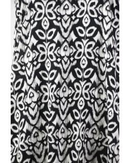 Elegantní balonové šaty bez rukávu, potisk, kapsy, černobílá