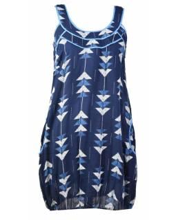 Elegantní balonové šaty bez rukávu, potisk, kapsy, modrá