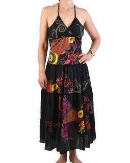 """Dlouhé černé šaty """"Eolia design"""", zavazování za krk"""