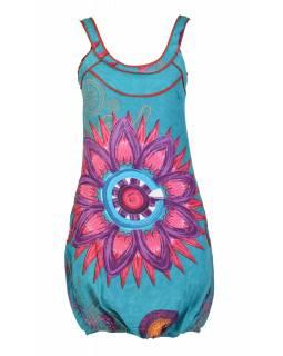 """Tyrkysové balonové šaty bez rukávu """"Mandala design"""", kapsy"""