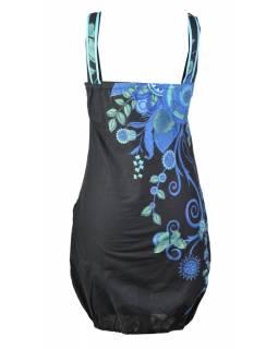 """Černo-modrá balonové šaty bez rukávu """"Flower design"""", kapsy"""