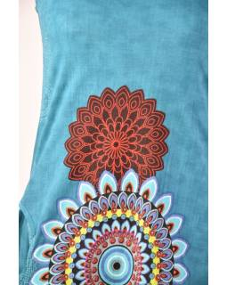 """Tyrkysové šaty bez rukávu """"Mandala"""", barevný potisk a kapsy"""