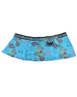 Polodouhá tyrkysová sukně zapínaná na patentky, kapsa, flower print