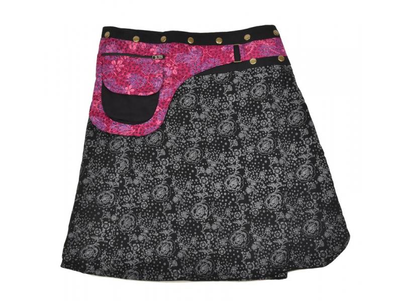 Polodouhá černo-růžová sukně zapínaná na patentky, kapsa, small flower print