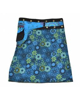 Polodouhá modrá sukně zapínaná na patentky, kapsa, flower print