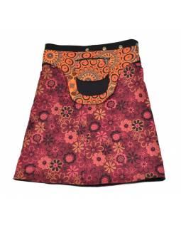 Polodouhá vínová sukně zapínaná na patentky, kapsa, flower print