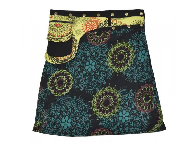 Polodouhá černá sukně zapínaná na patentky, kapsa, mandala print