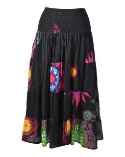 """Dlouhá černá sukně s potiskem """"Mandala design"""", žabičkování"""