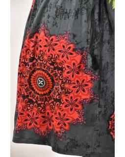 Tříčtvrteční šedá sukně s potiskem, elastický pas, šňůrka