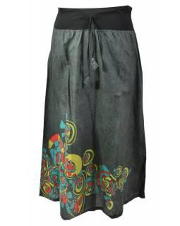 Dlouhá šedá sukně s potiskem, elastický pas, šňůrka