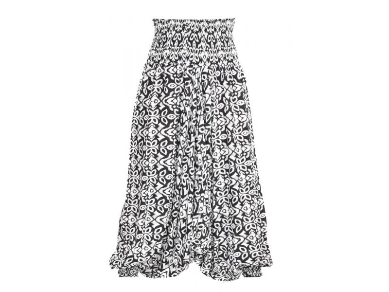 Elegantní turecké kalhoty/overal s potiskem, černo-bílé