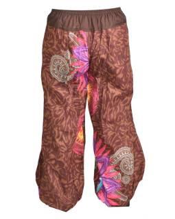 """Hnědé balonové kalhoty """"Mandala"""", pružný pas a kapsy"""