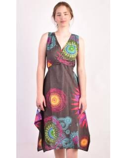 Tříčtvrteční šedé šaty s potiskem, na ramínka, Mandala print