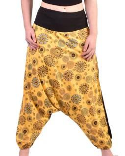 Žluté turecké kalhoty s potiskem chakra, výšivka