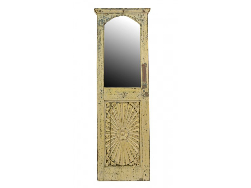 Stará dvířka z teakového dřeva předělaná na zrcadlo, 37x110x4cm