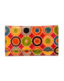 """Peněženka design """"Circles"""" malovaná kůže, červená, 21,5x12cm"""