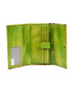 """Peněženka design """"Circles"""" malovaná kůže, zelená, 21,5x12cm"""