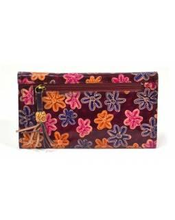 """Peněženka design """"Flowers""""malovaná kůže, hnědá, 21,5x12cm"""