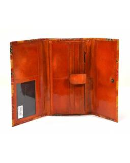 """Peněženka design """"Flowers"""" malovaná kůže, oranžová, 21,5x12cm"""