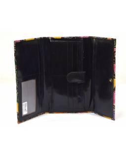 """Peněženka design """"Flowers"""" malovaná kůže, černá, 21,5x12cm"""