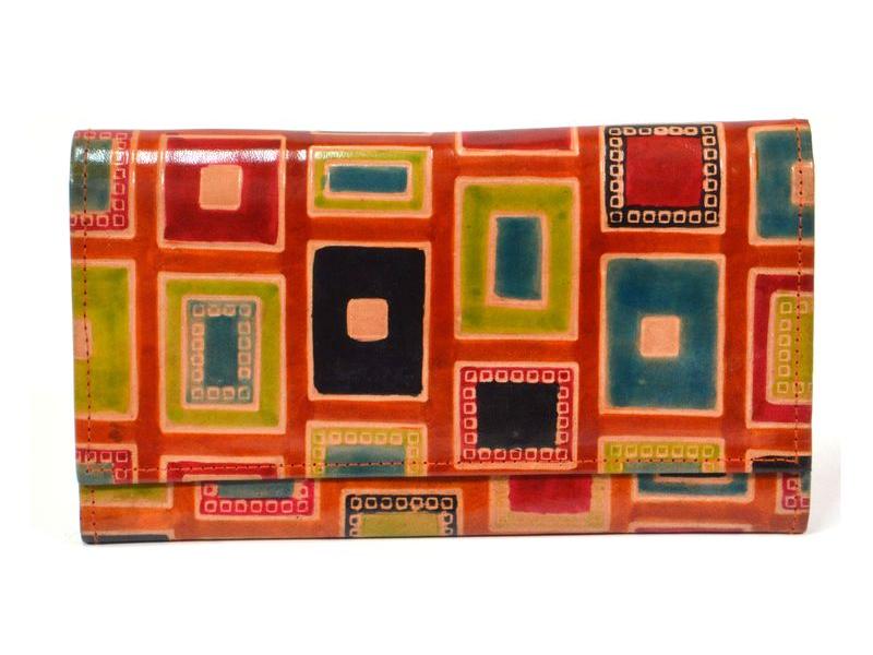 """Peněženka design """"Geometric"""" malovaná kůže, oranžová, 21,5x12cm"""