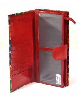 Peněženka, malovaná kůže, červená, kruhy, 23x12cm