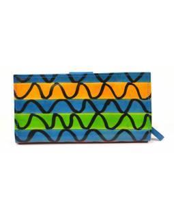 Peněženka, malovaná kůže, modrá, vlnky, 23x12cm