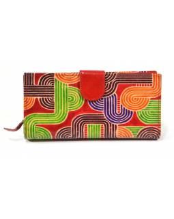 Peněženka, malovaná kůže, červená, geometrie, 23x12cm