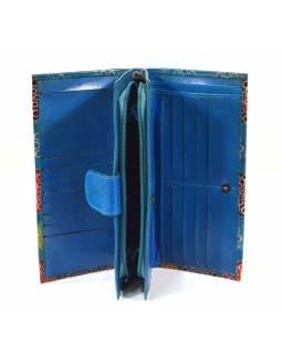 Peněženka, malovaná kůže, modrá, 23x12cm