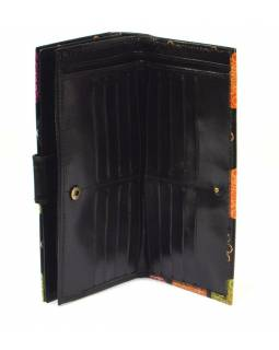 Peněženka, malovaná kůže, černá, 23x12cm