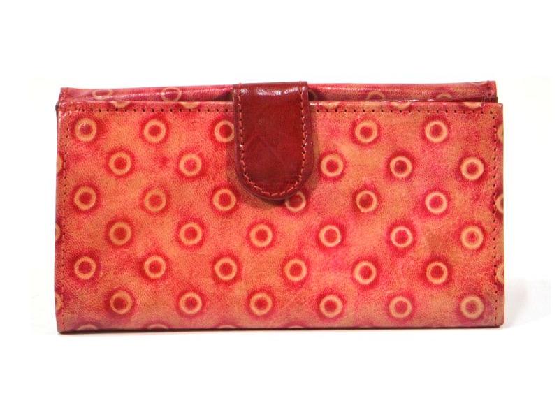 """Peněženka design """"dots"""" malovaná kůže, červená, 9x16cm"""