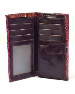 """Peněženka design """"dots"""" malovaná kůže, fialová, 9x16cm"""