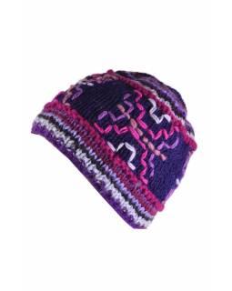 Čepice, fialová, výšivka, podšívka