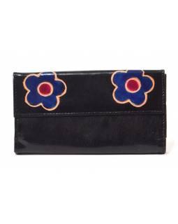 """Peněženka design """"Two Flower"""" malovaná kůže, černá, 9x16cm"""