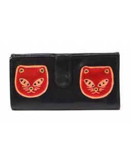 """Peněženka design  """"Two Cats"""" malovaná kůže, černá, 9x16cm"""