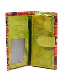 """Peněženka design """"Cirles"""" malovaná kůže, zelená, 9x16cm"""
