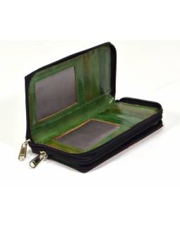 Peněženka zapínaná na zip, světle modrá, malovaná kůže, 17x9cm