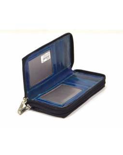 Peněženka zapínaná na zip, modrá, malovaná kůže, 17x9cm